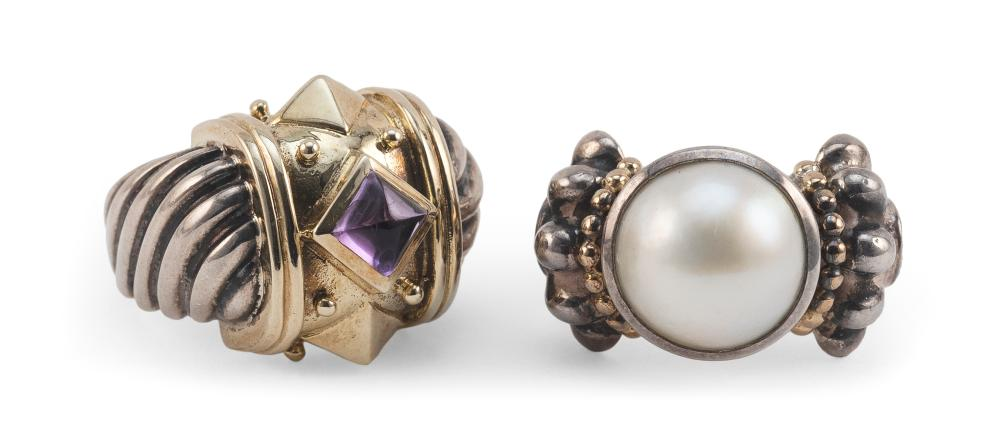 TWO YURMAN-STYLE STERLING SILVER AND GOLD RINGS Approx. 16.18 total dwt.