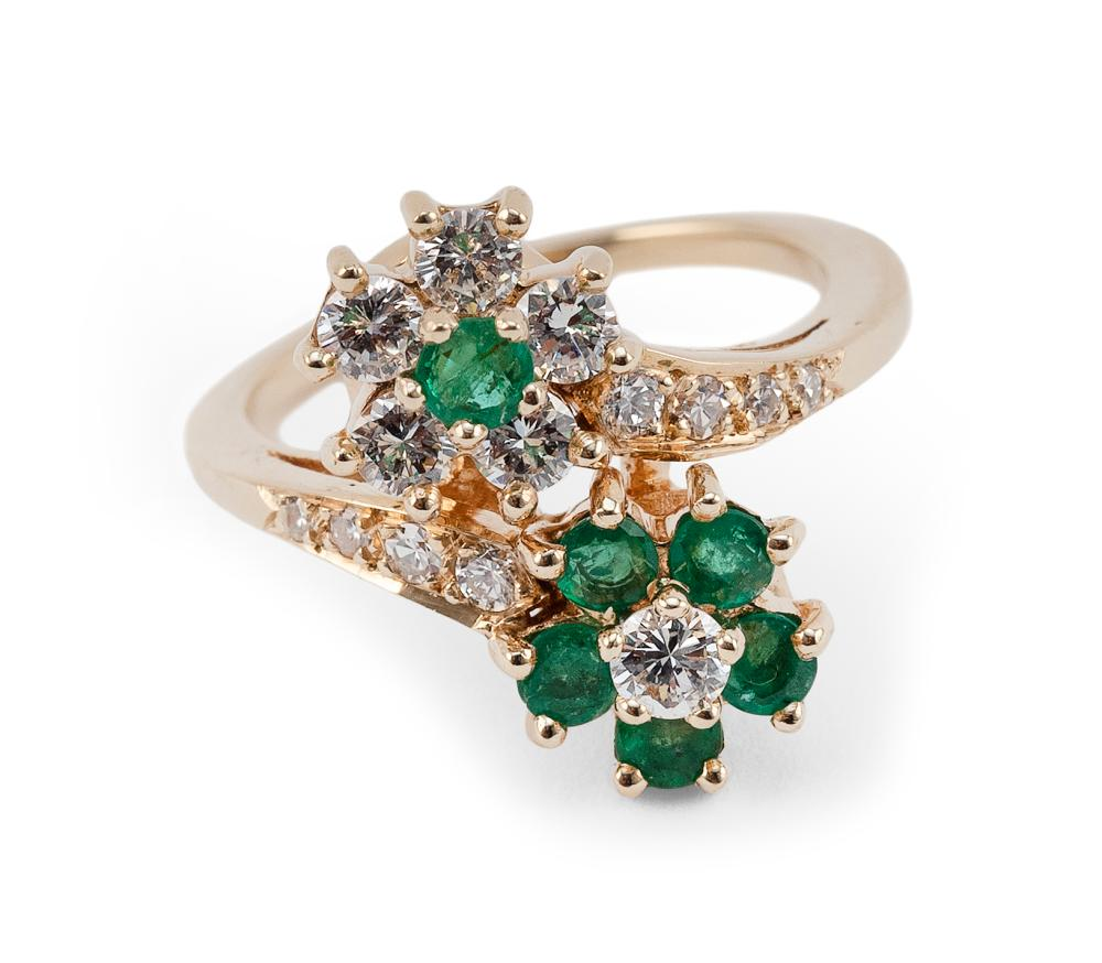 14KT GOLD, DIAMOND AND EMERALD FLORIFORM BYPASS RING Approx. 3.52 total dwt.