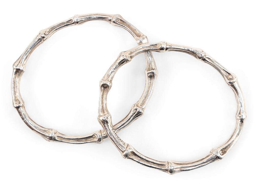 TWO TIFFANY & CO. STERLING SILVER BAMBOO BANGLE BRACELETS Copyright 1996 Approx. 62.81 dwt.