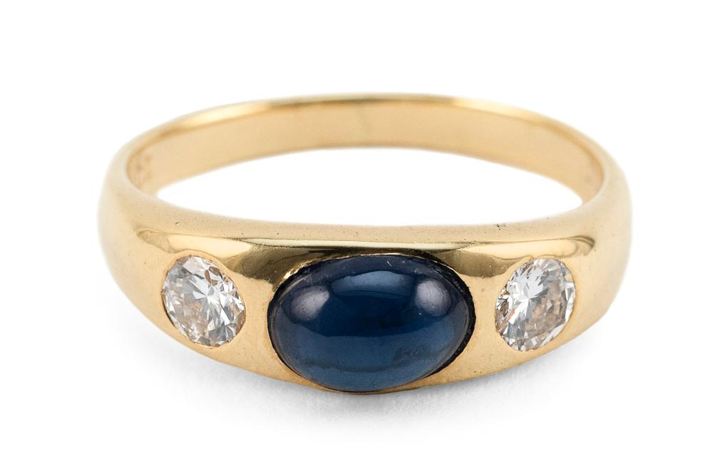 18KT GOLD, SAPPHIRE AND DIAMOND RING Approx. 2.28 total dwt.