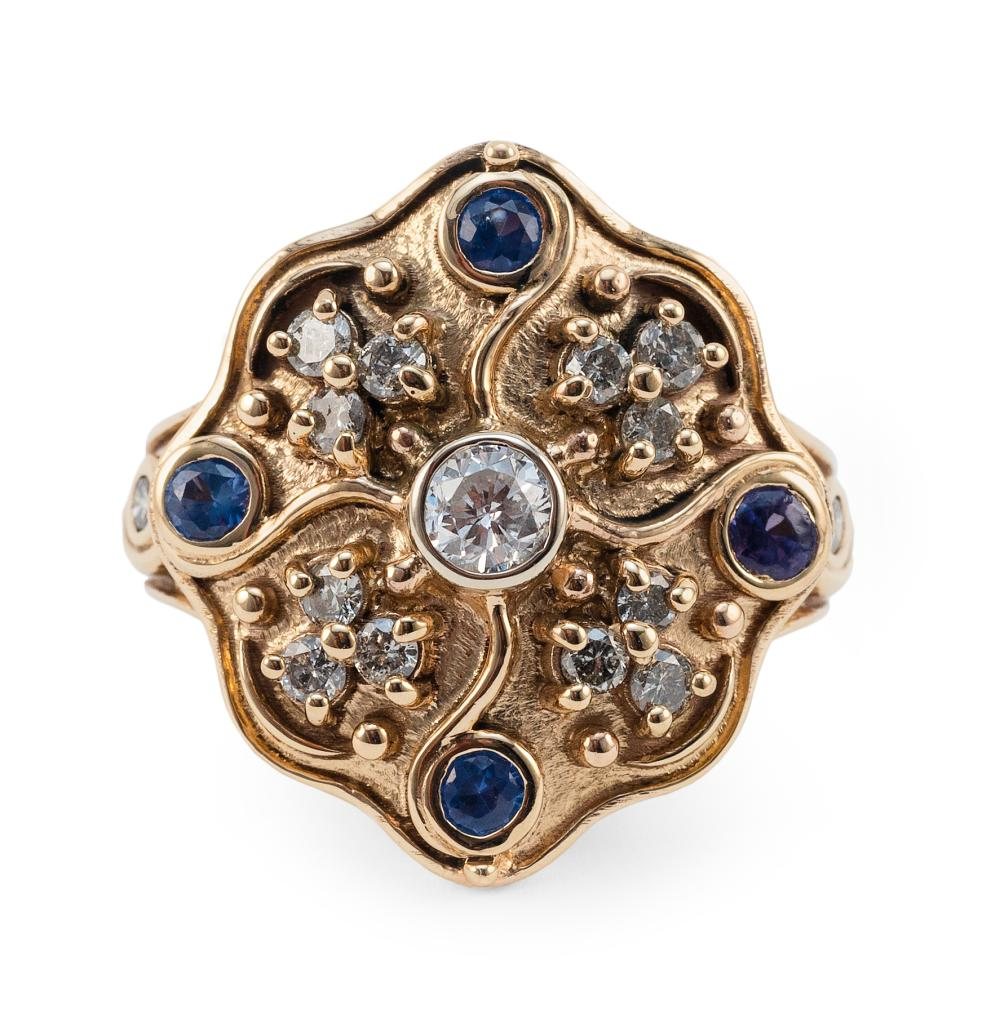 14KT GOLD, DIAMOND AND SAPPHIRE RING Approx. 6.02 total dwt.