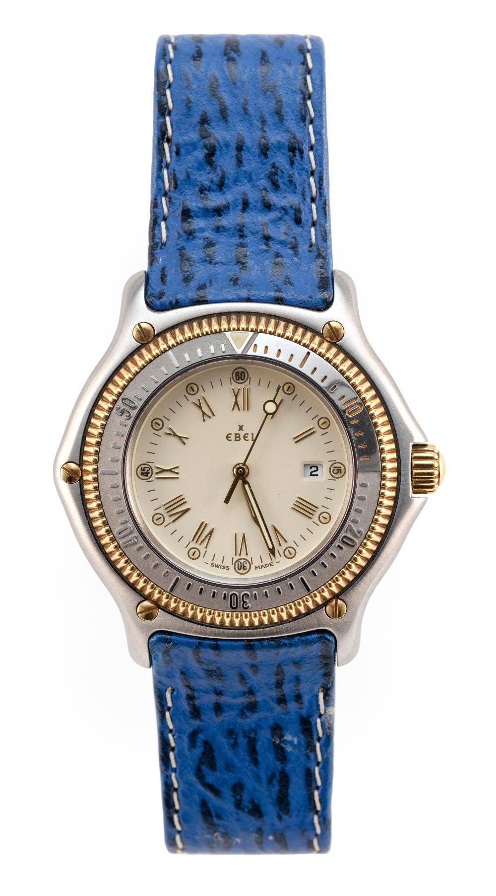 EBEL STAINLESS STEEL AND 18KT GOLD WATCH