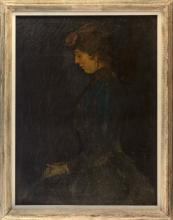 """LESLIE WILLIAM LEE, California, 1871-1951, Portrait of the artist's wife., Oil on canvas, 40"""" x 30"""". Framed 47"""" x 36""""."""