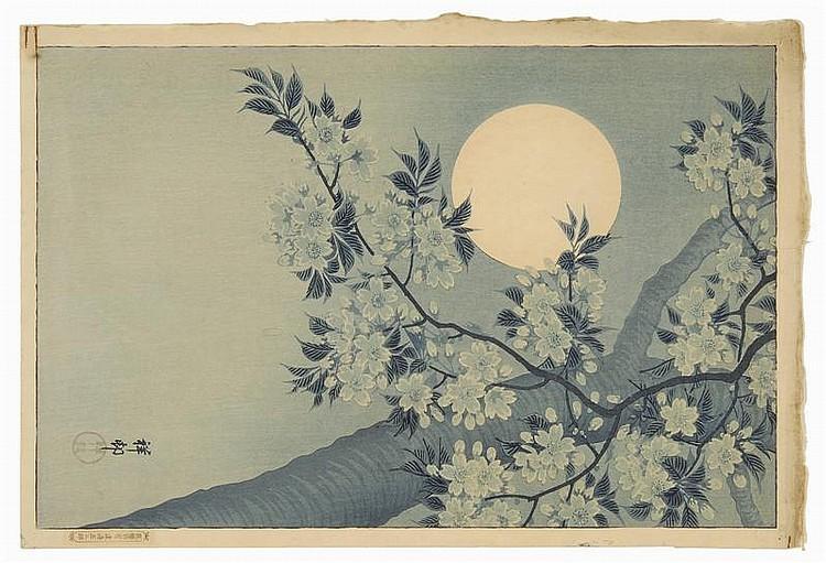 OHARA SHOSON Blue moon and plum tree.