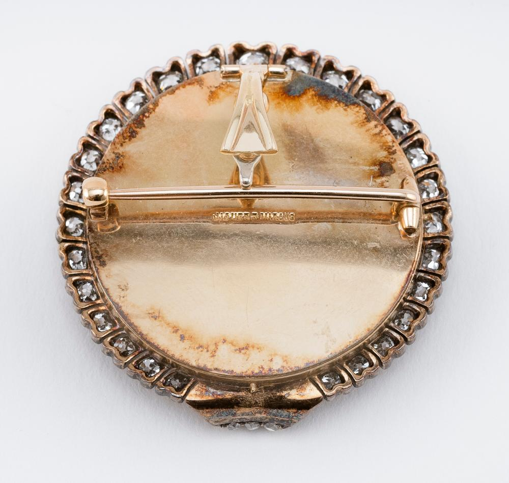 JACQUES & MARCUS GOLD, DIAMOND AND PORTRAIT MINIATURE BROOCH New York, Early 20th Century Approx. 13.40 total dwt.
