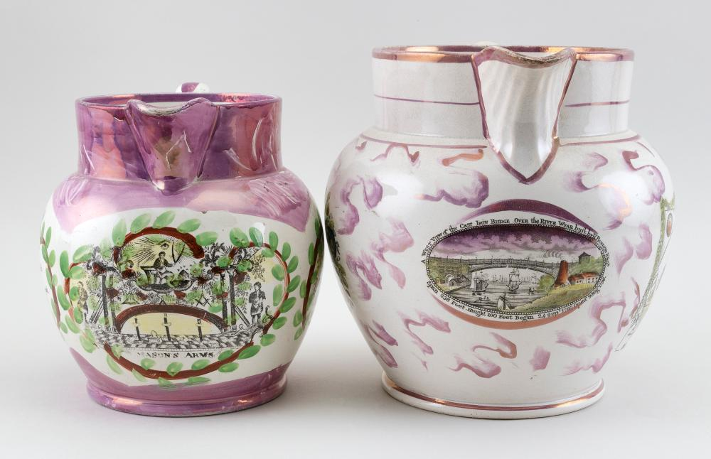 TWO SUNDERLAND PINK LUSTREWARE JUGS WITH MASONIC DECORATION Second Quarter of the 19th Century