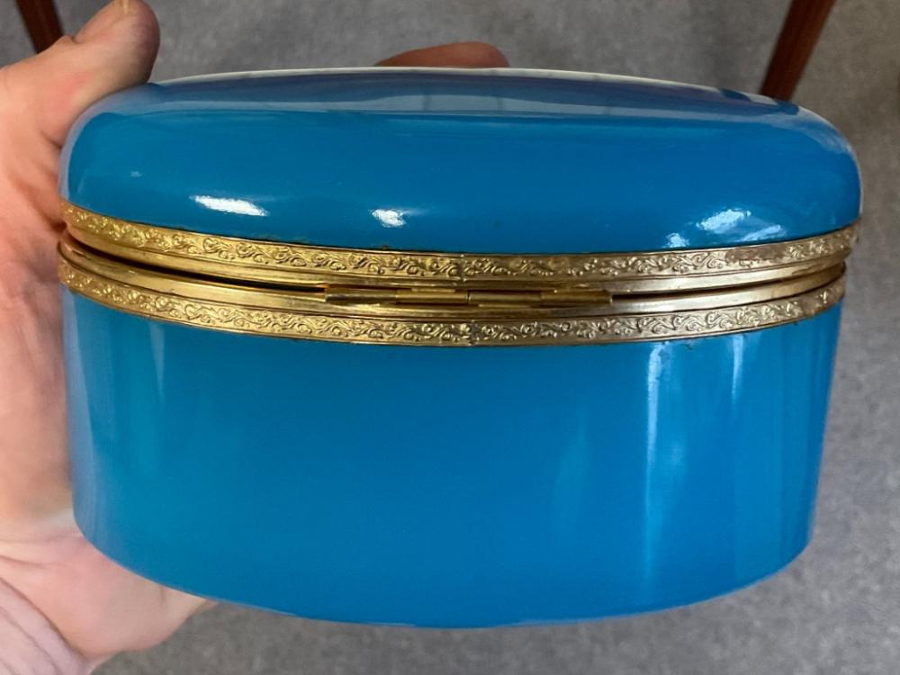 "FRENCH BLUE OPALINE GLASS DRESSER BOX 19th Century Height 3.75"". Width 6.25"". Depth 4.5""."