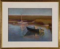 """JANE ECCLES, Cape Cod, Contemporary, """"Low Ebb at Boat Meadow""""., Pastel on paper, 12½"""" x 17½"""" sight. Framed."""