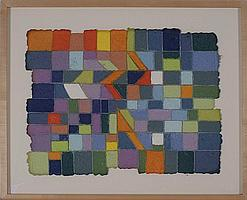 """JANES ECCLES, Cape Cod, Contemporary, """"Peridot""""., Handmade paper collage, 24"""" x 18"""". Framed."""