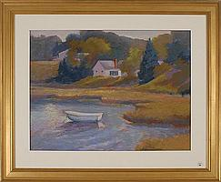 """JANE ECCLES, Cape Cod, Contemporary, """"Round Pond""""., Pastel on paper, 17"""" x 23"""" sight. Framed."""