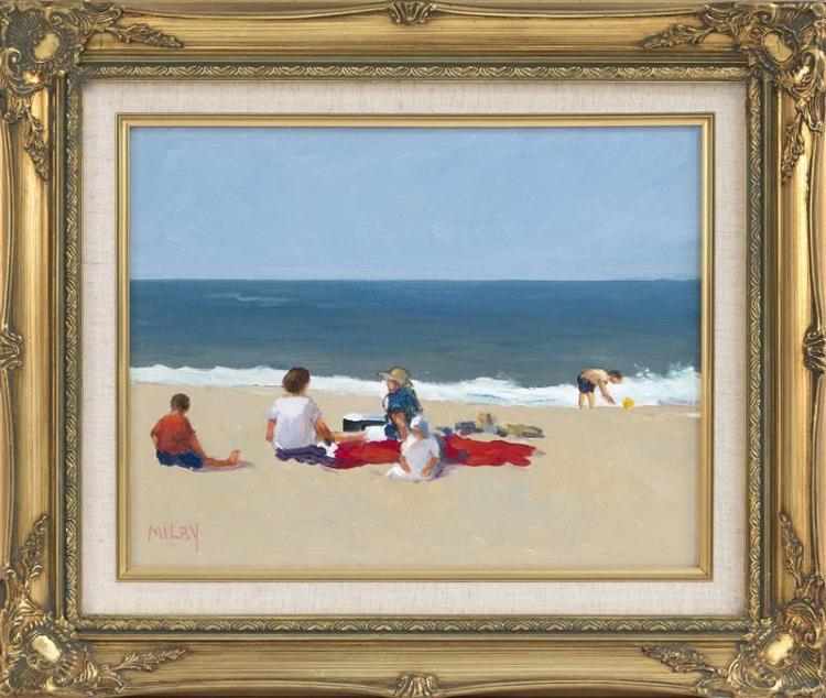 FRANK MILBY, Cape Cod, Contemporary, Figures on the beach., Oil on canvas, 10