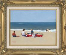 FRANK MILBY, Cape Cod, Contemporary, Figures on the beach., Oil on canvas, 10