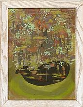 ATTRIBUTED TO VIRGINIA BERRESFORD, Massachusetts, 1902-1995, Pond on Martha''s Vineyard., Oil on board, 24