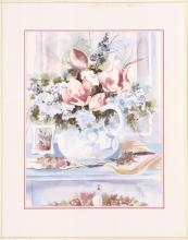DEBBIE HEARLE, Cape Cod, Contemporary, Still life of pink and white flowers in a white pitcher., Print, 21
