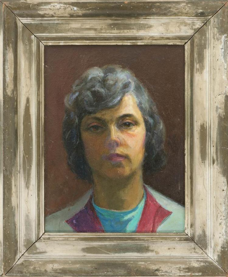 ADA RAYNER HENSCHE, Massachusetts, 1901-1985, Self portrait., Oil on masonite, 16