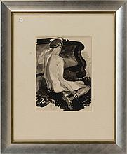 HAYLEY LEVER, New York/Massachusetts, 1876-1958, Nude study., Ink, wash and pencil on paper, 11.25