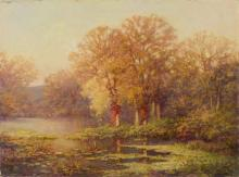 MANNER OF J.J. ENNEKING, American, Early 20th Century, Autumn sunset., Oil on canvas, 18