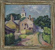 HORTENSE T. FERNE, New York, 1885-1976, The town clock tower, Orange Street, Nantucket., Oil on canvas, 18