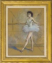 LOUIS KRONBERG, New York/Florida/Massachusetts/France, 1872-1965, Ballerina at the barre., Pastel, 25