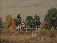 FREDERICK MORTIMER LAMB, Massachusetts, 1861-1936, House in an autumnal landscape., Oil on board, 12
