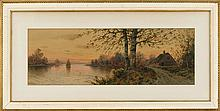 WILLIAM FREDERICK PASKELL, Massachusetts, 1866-1951, Sunset view of a cottage and a sailboat on a lake., Watercolor on paper, 11