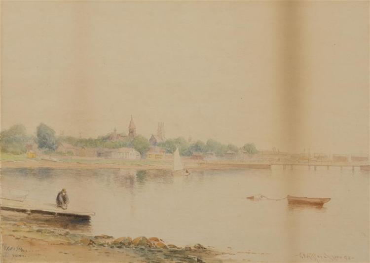 CHARLES HENRY GIFFORD, Massachusetts, 1839-1904, Harbor scene, probably New Bedford, Massachusetts., Watercolor on paper, 10
