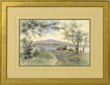 A.F. BIRD, American, Early 20th Century, View of a path to a lake., Watercolor on paper, 14