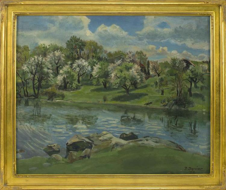 AMERICAN SCHOOL, Mid-20th Century, Apple orchard and pond., Oil on board, 20