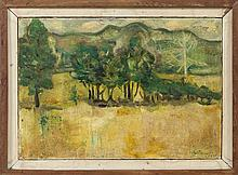 BERTRAM HARTMAN, New York/Kansas, 1882-1960, Stand of trees with mountains in the background., Oil on canvas, 10