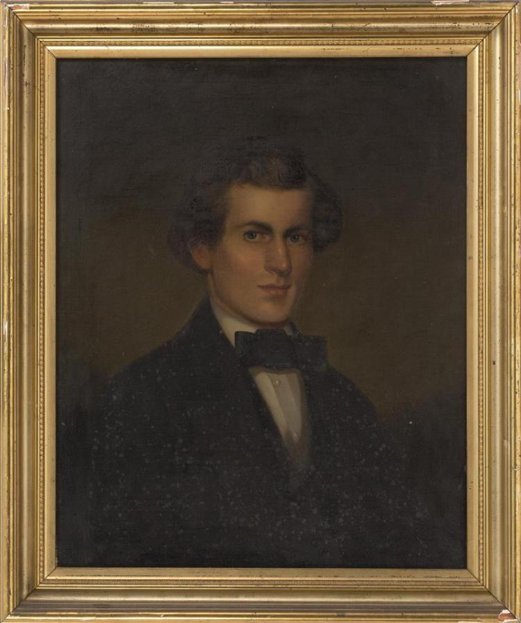 AMERICAN SCHOOL, 19th Century, Portrait of a gentleman., Oil on canvas, 27