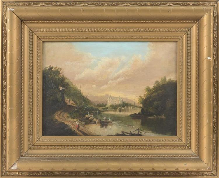 AMERICAN SCHOOL, 19th Century, Figures along a river and a distant castle., Oil on canvas, 10