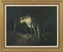 GEORGE WILLIAM WHITAKER, Rhode Island, 1841-1916, Figure walking down a forest path., Oil on canvas, 22