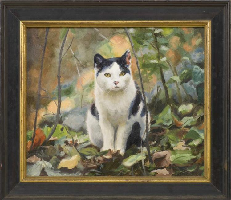 AMERICAN SCHOOL, Contemporary, Portrait of a cat sitting in the woods., Oil on board, 9.25