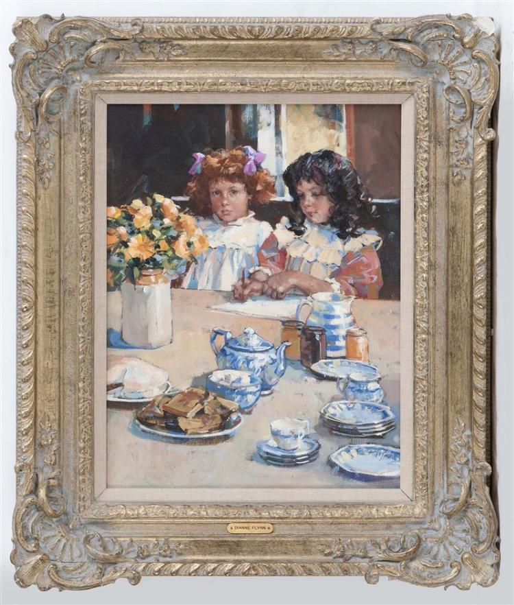 DIANNE ELIZABETH FLYNN, United Kingdom, b. 1939, Tea party., Oil on canvas, 15.5
