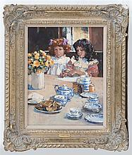 DIANNE ELIZABETH FLYNN, United Kingdom, b. 1939, Tea party., Oil on canvas, 15.5