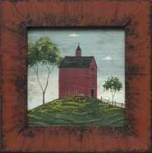WARREN KIMBLE, Vermont, 20th Century, Red barn on a hill., Oil on board, 6