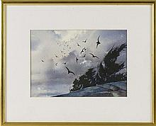 JOHN LEO LOUGHLIN, Massachusetts, 1931-2004, Gulls over a rock., Watercolor on paper, 9