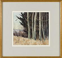 JOHN LEO LOUGHLIN, Massachusetts, 1931-2004, A stand of trees., Watercolor on paper, 11.5