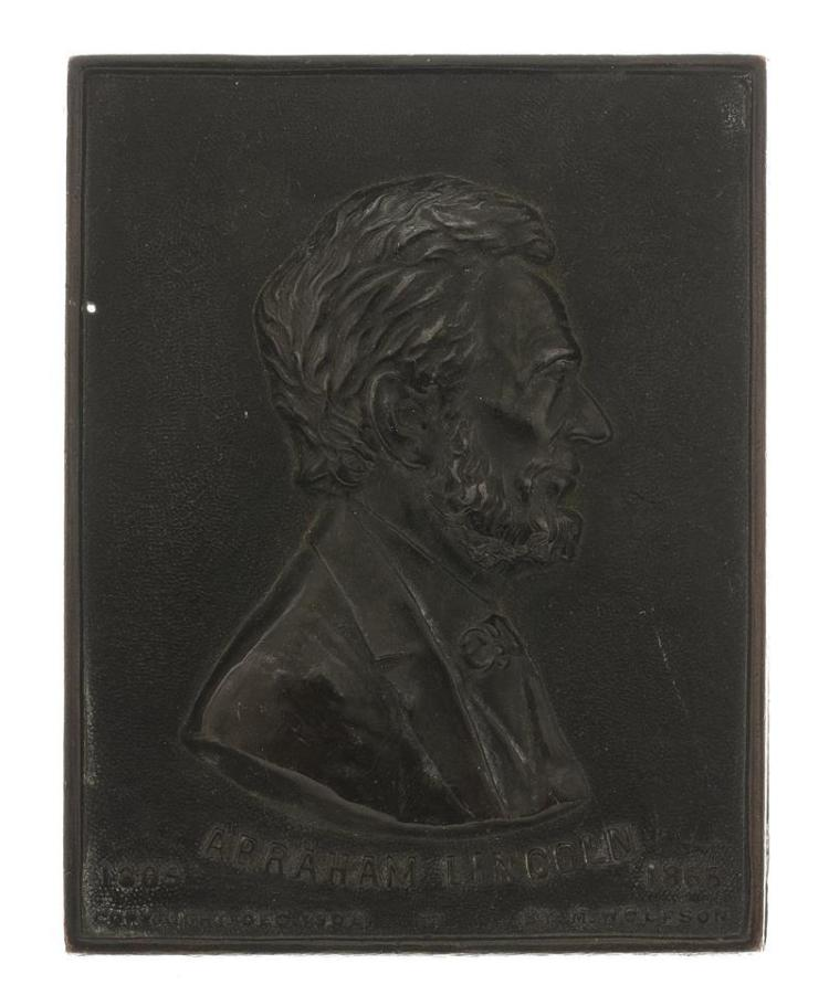 COPPER-CLAD WHITE METAL PLAQUE DEPICTING ABRAHAM LINCOLN By M. Wolfson. Dated 1908. 4.3