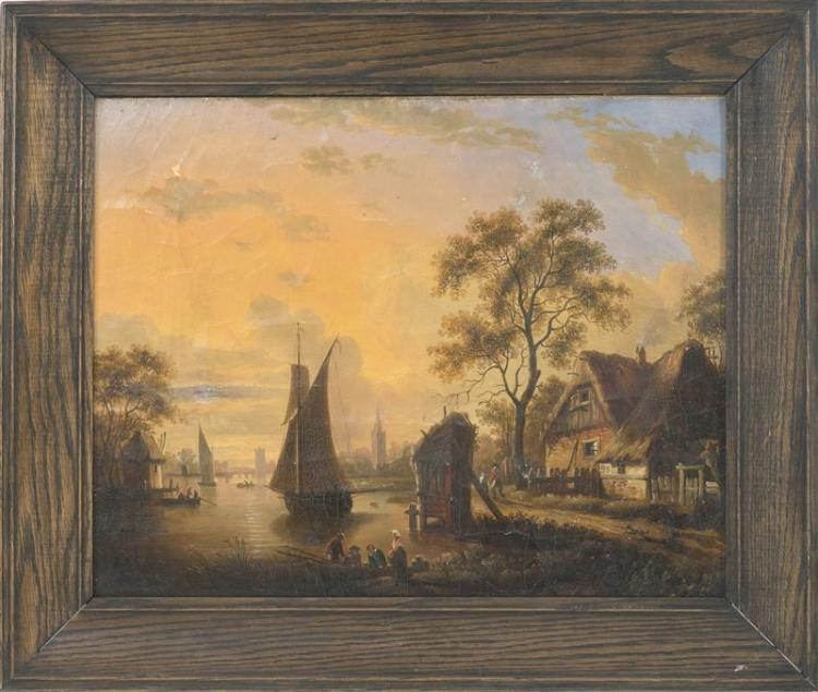 DUTCH SCHOOL, 19th Century, A Dutch harbor at sunset., Oil on canvas laid down on board, 16