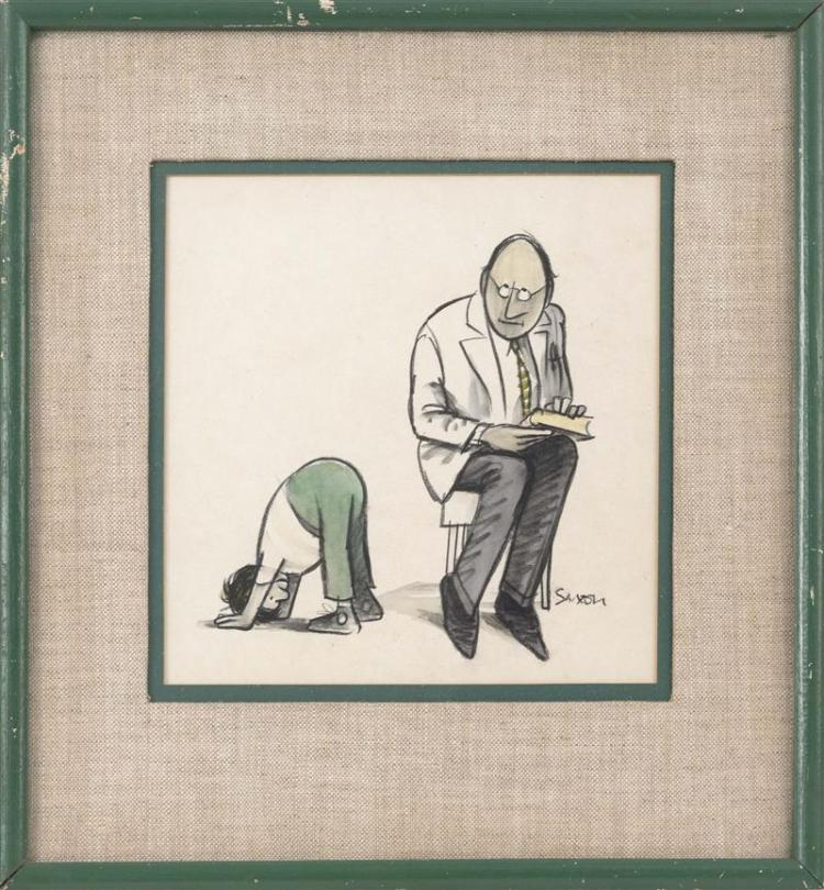 CHARLES DAVID SAXON, Connecticut/New York, 1920-1988, Illustration of a seated man holding a book, Mixed media on paper, 8