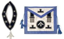 MASONIC SASH AND APRON Blue velvet sash with silver-colored star appliqués and trim. Suspends a coin silver medallion engraved