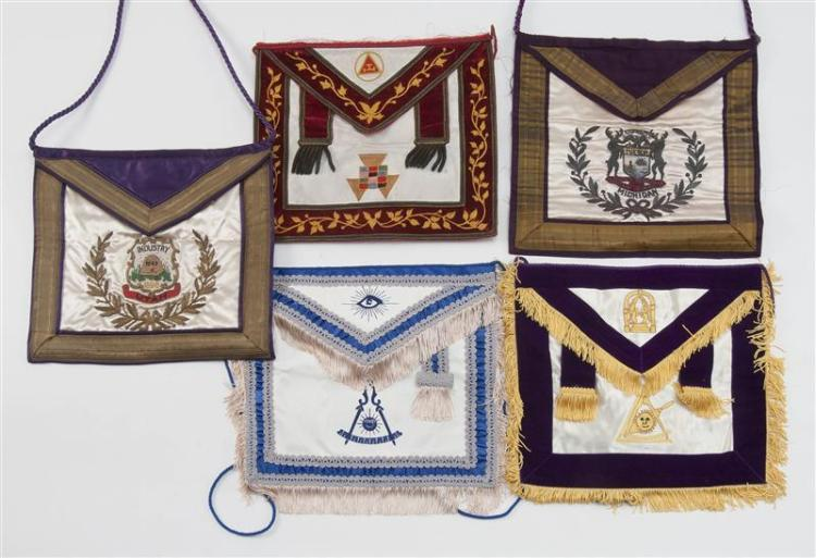 FIVE MASONIC APRONS All approx. 13