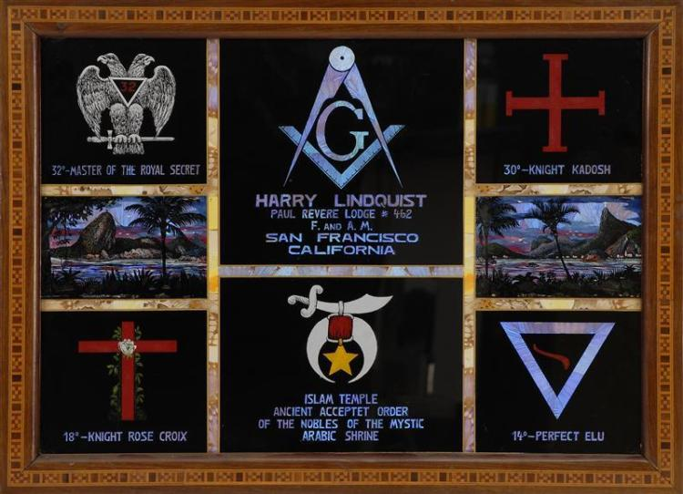 FRAMED PIECE OF MASONIC MEMORABILIA Grid arrangement of rectangular black panels with various inscriptions. Upper central panel mark...