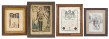 FOUR FRAMED FRATERNAL ORGANIZATION MEMORABILIA ITEMS 1) Supreme Council Sovereign Grand Inspectors General Grand Commanders of the H...