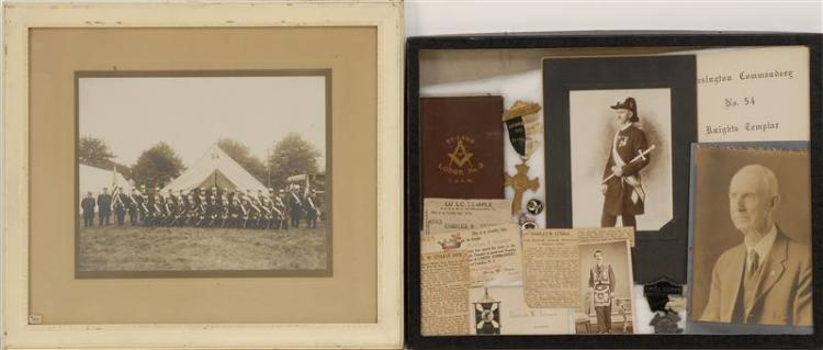 FRAMED COLLECTION OF KNIGHTS TEMPLAR MEMORABILIA All pertaining to member Charles W. Stigale. Includes a framed black and white phot...