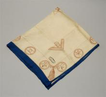 MASONIC ALTAR CLOTH A central six-pointed star containing a Triple Tau is surrounded by various other symbols, all in reddish-brown...