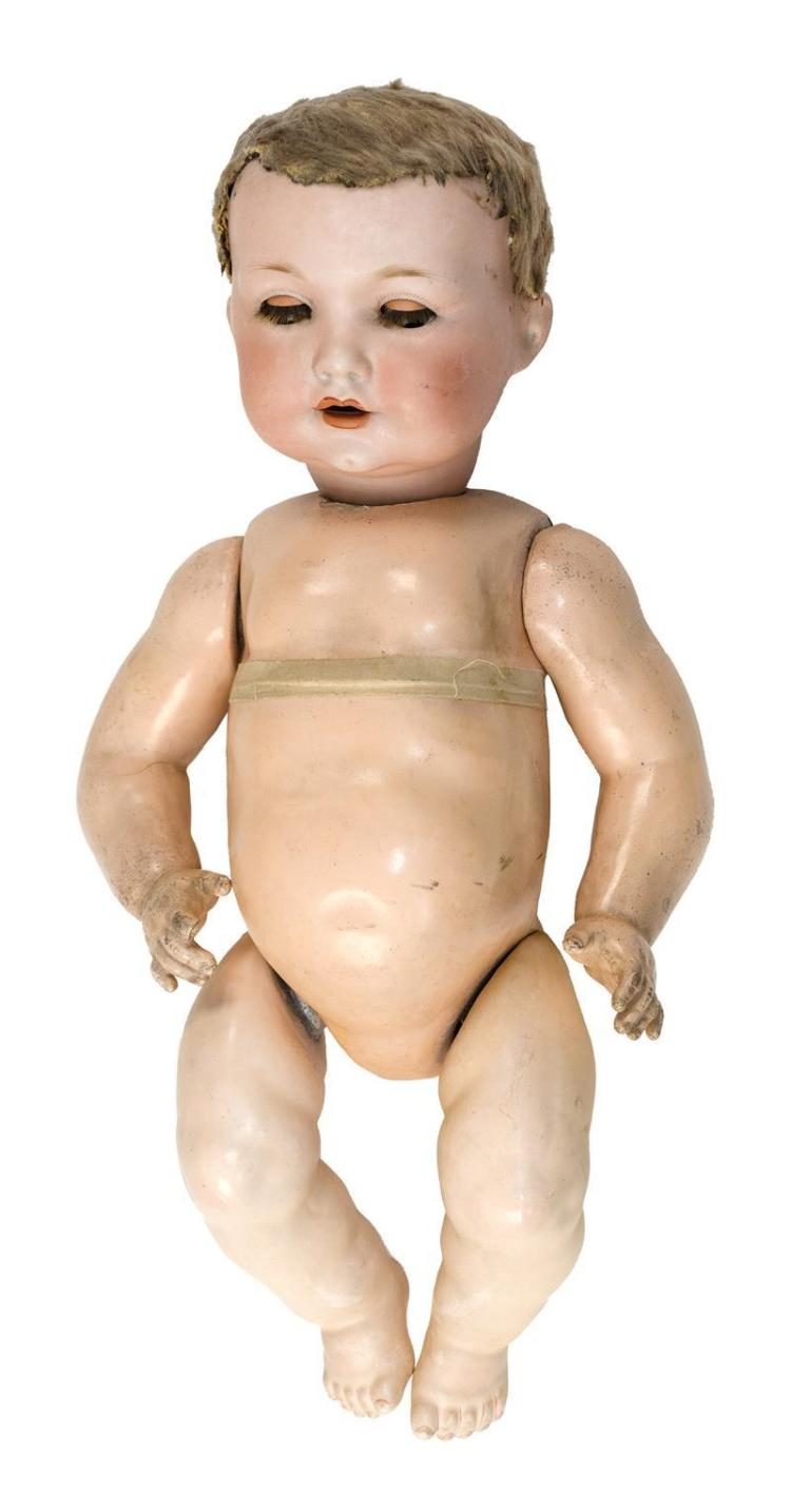 ARMAND MARSEILLE #971 BISQUE-HEAD DOLL With brown sleep eyes and open mouth. Blonde wig has been shaven. Composition ball-jointed bo...