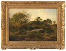 "SIDNEY RICHARD PERCY, United Kingdom, 1821-1886, Woodland landscape with grazing sheep., Oil on canvas, 14.75"" x 21"". Framed 21"" x 27""."