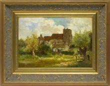 JOSEPH RODEFER DECAMP, Maine/Massachusetts/Pennsylvania/Florida/Ohio, 1858-1923, Landscape with cathedral., Oil on artist board, 10....